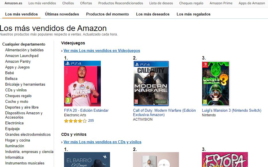 Los más vendidos de Amazon