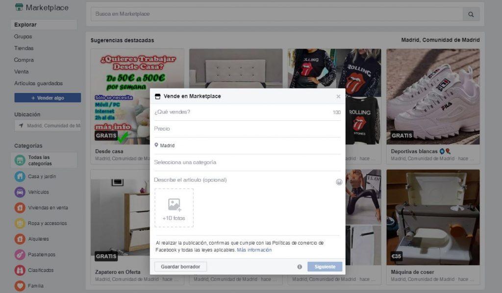 El marketplace de Facebook