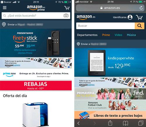 App y versión móvil de Amazon