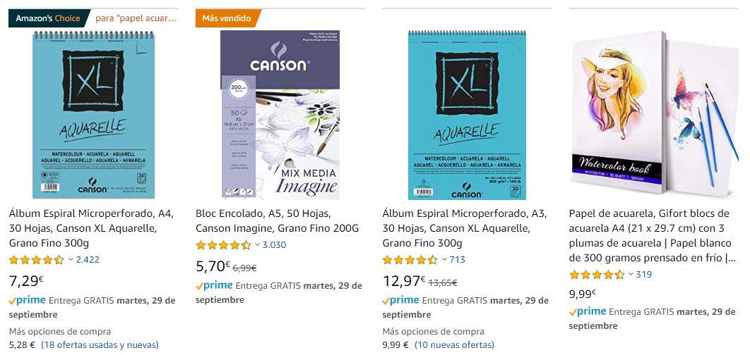 Vistas en minatura en los resultados de búsqueda de Amazon.