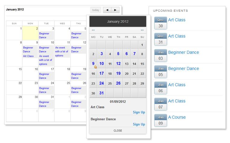Calendar Web Widget : Features events planner for wordpress
