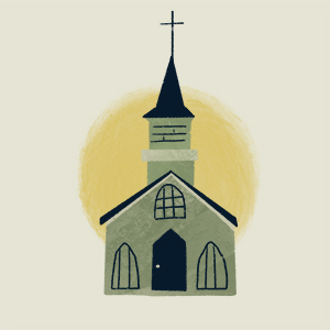 Graphic of a church with a sun behind it
