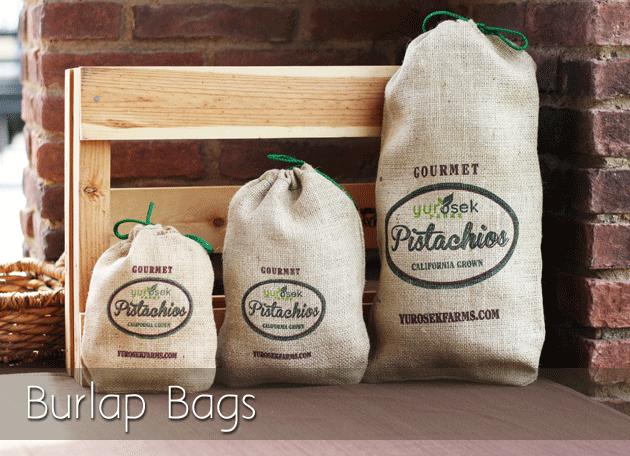 Pistachio Burlap Bags