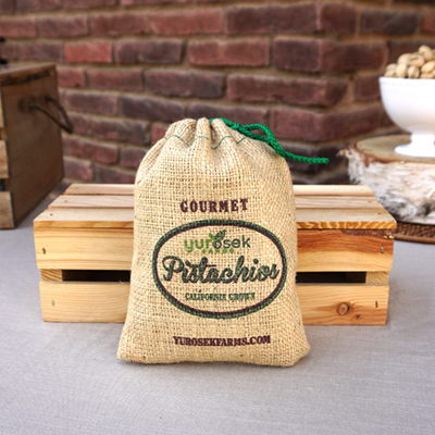 8 oz Burlap Bag Roasted & Salted Pistachios