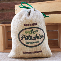 8 oz Burlap Bag Roasted & Salted Pistachios