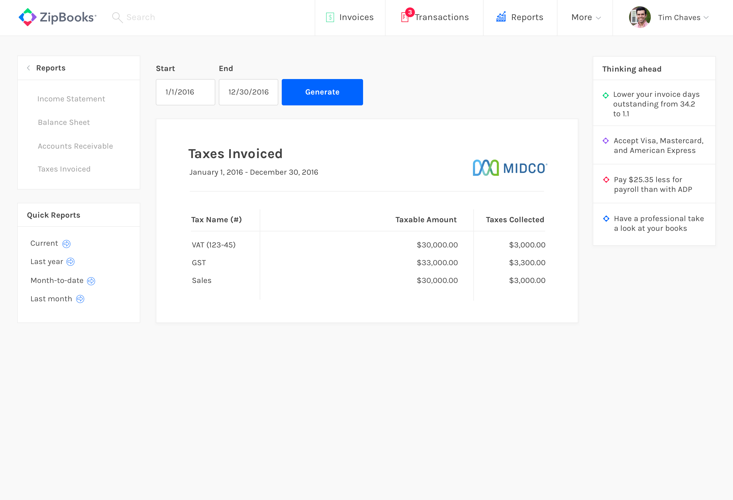 Invoiced Taxes preview
