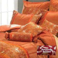 Burgundy Beaded Bedding