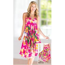 Tie-Dyed Convertible Skirt Dress