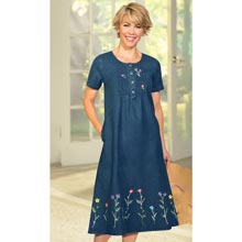 Flowery Embroidered Denim Dress