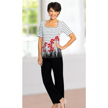 Floral Border Stripe Pant Set