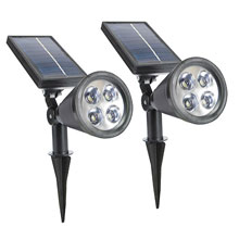 2-In-1 Waterproof 4 LED Solar Spotlight