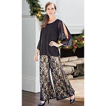 Elegant Chiffon Lace Pants