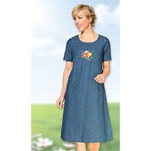 Embroidered Denim Skimmer Dress
