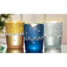 Silver Glitter Votive