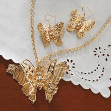 3-D Filigree Butterfly Jewelry Set