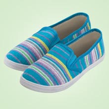 Aqua Striped Loafers