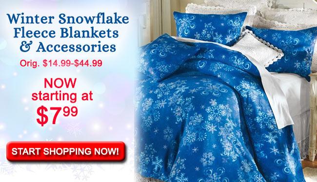 Winter Snowflake Fleece Blankets & Accessories
