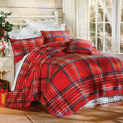 Ruby Plaid Fleece Blankets & Accessories