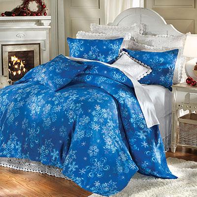 Winter Snowflake Fleece Blanket & Accessories