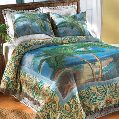 Tropical Palm Tapestry Coverlet