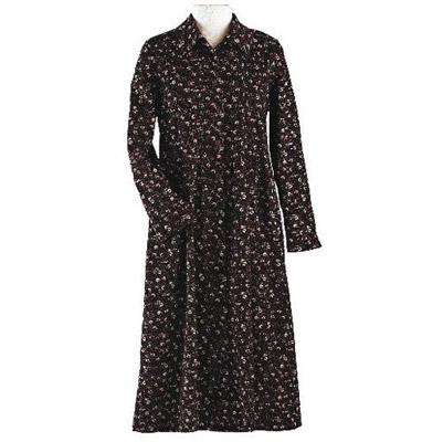 Brown Floral Print Corduroy Dress