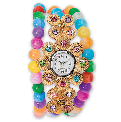 Colourful Beaded Wrap Watch