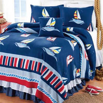 Ships Ahoy Fleece Decorative Pillow Cover