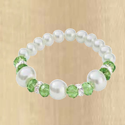 Faux Pearl & Bead Stretch Bracelet