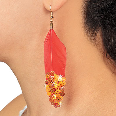 Bejeweled Feather Earrings