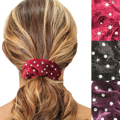 Blinged-Out Velour Scrunchies