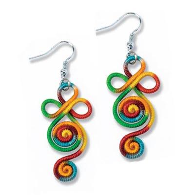Artisan Rainbow Woven Earrings