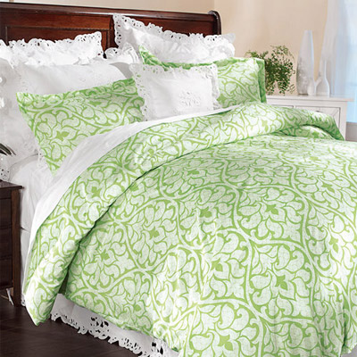 Spring Green Damask Duvet Set