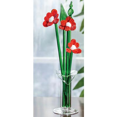 Blown Glass Flowers in Vase - Red