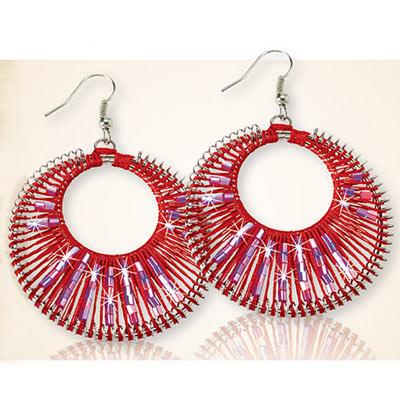 Mystic Red Woven Earrings