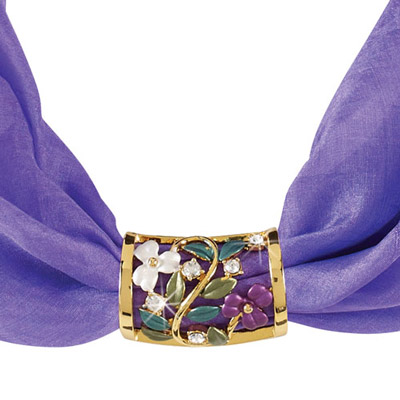 Violet Enameled Scarf Tube with Free Silk Scarf