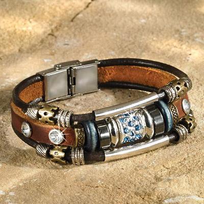 Beaded & Leather Bracelet
