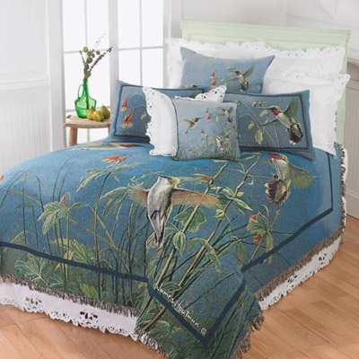 Denim Blue Hummingbird Tapestry Coverlet