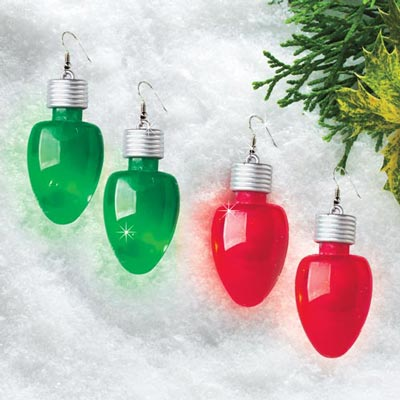 8fbff8ef8 Flashing Christmas Bulb Earrings | The Added Touch