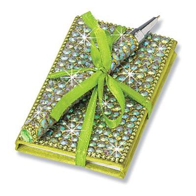 Green Bling Bejewelled Notebook & Pen Set