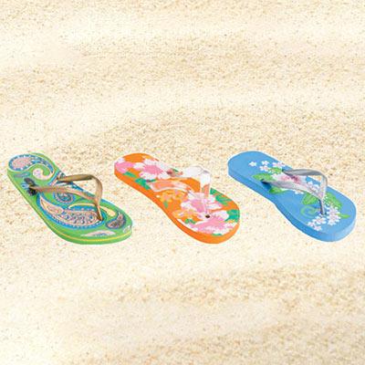 Tangerine Festive Flip Flops