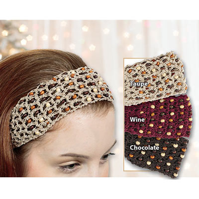 Earthy Crocheted & Beaded Headband
