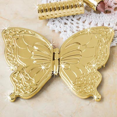 Gold Butterfly Compact