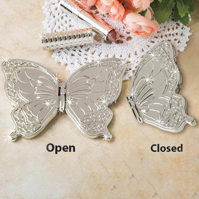 Beautiful Silver Butterfly Compact