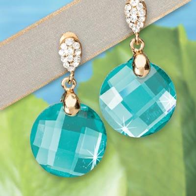 Aqua Glitz Earrings