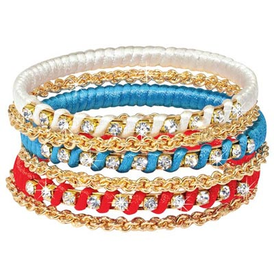 Red, White & Blue Bling Bracelets