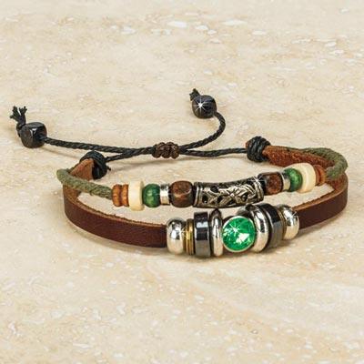 Bejewelled Leather Bracelet