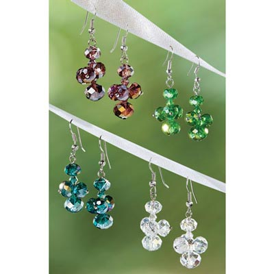 Crystal Drop Earrings - Set of 4