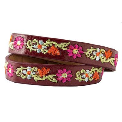 Floral EmbroideredLeather Wrap Bracelet