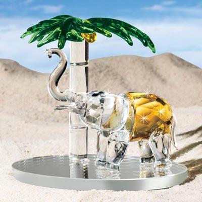 Crystal Elephant & Palm