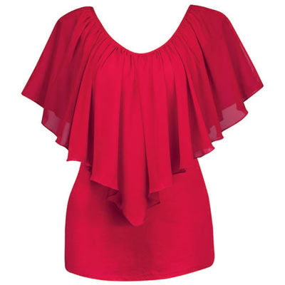 Draped Chiffon Overlay Top